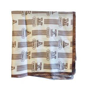 MaxMara 100% Silk Scarf Monogram Bronze Tan Square